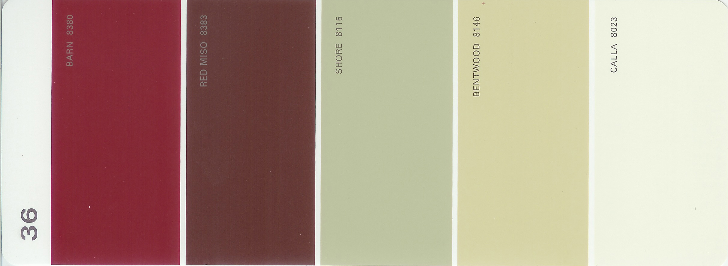 Martha Stewart Paint 5 Color Palette Card #36