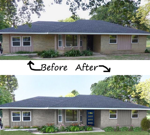 Ranch Home Siding Design Ideas: - TheLandofColor.com