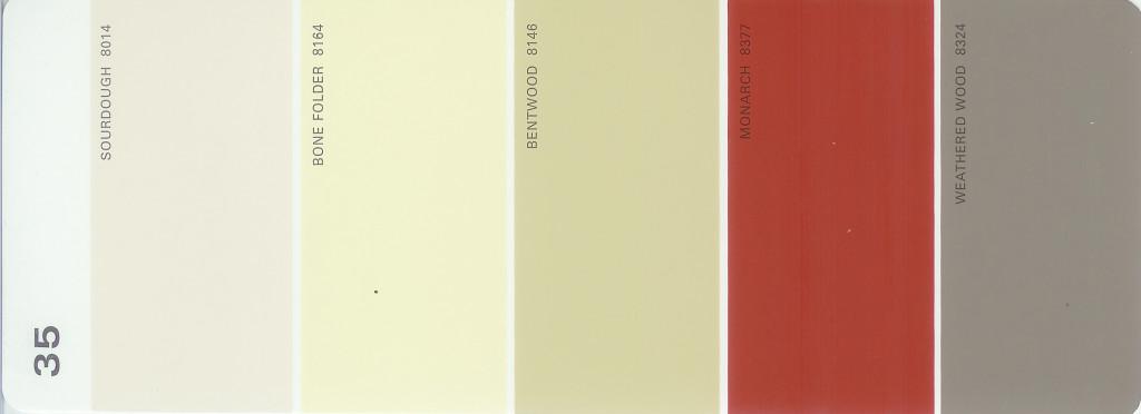 Martha stewart paint 5 color palette card 35 for Martha stewart exterior paint colors
