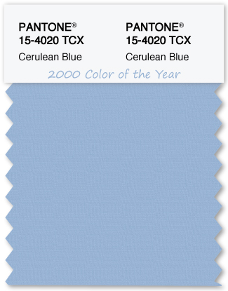 Color Swatch Pantone color of the year 2000 Cerulean Blue